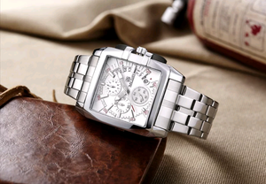 Luxury Steel Chronograph Quart Wristwatch - Swank & Swagger