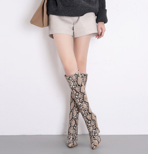 Women's Sexy Python Knee High Boots - Swank & Swagger