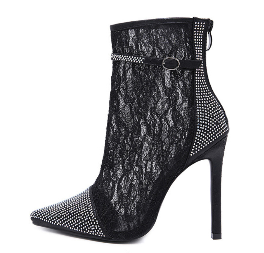 Women's Designer High Heel Lace Ankle Boots - Swank & Swagger