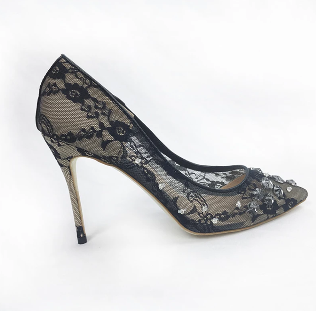 Women's Floral Lace Crystal Bridal Shoes - Swank & Swagger