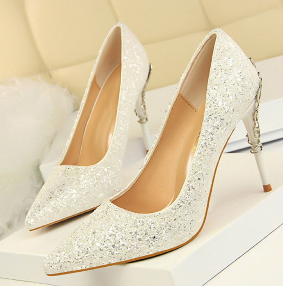 Women's Designer Metal Heels Bridal Shoes - Swank & Swagger