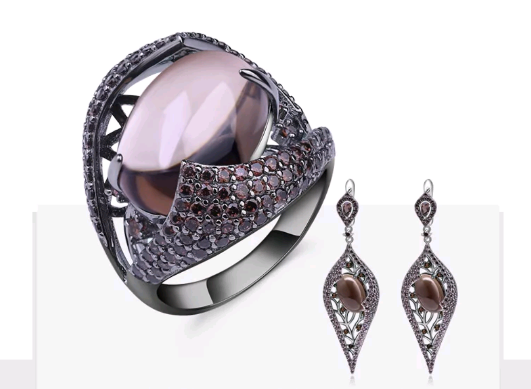 Stunning Smoky Quartz Sterling Silver Jewelry Set - Swank & Swagger