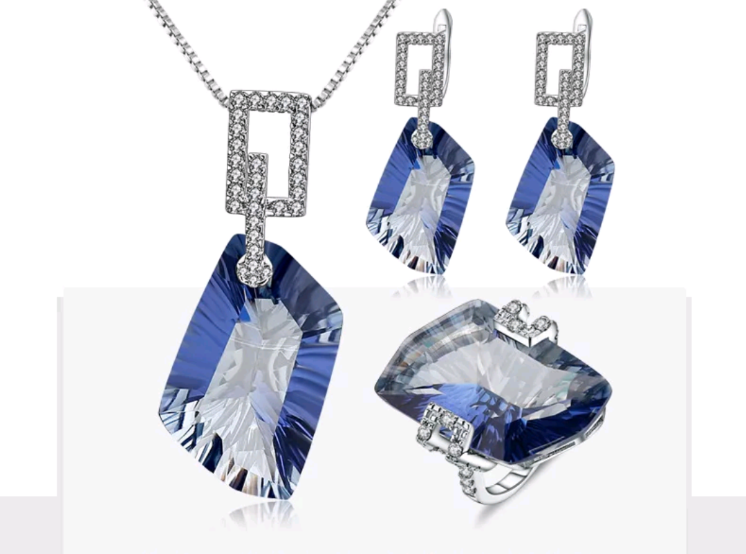 84.4 ct Natural Iolite Sterling Silver Jewelry Set - Swank & Swagger