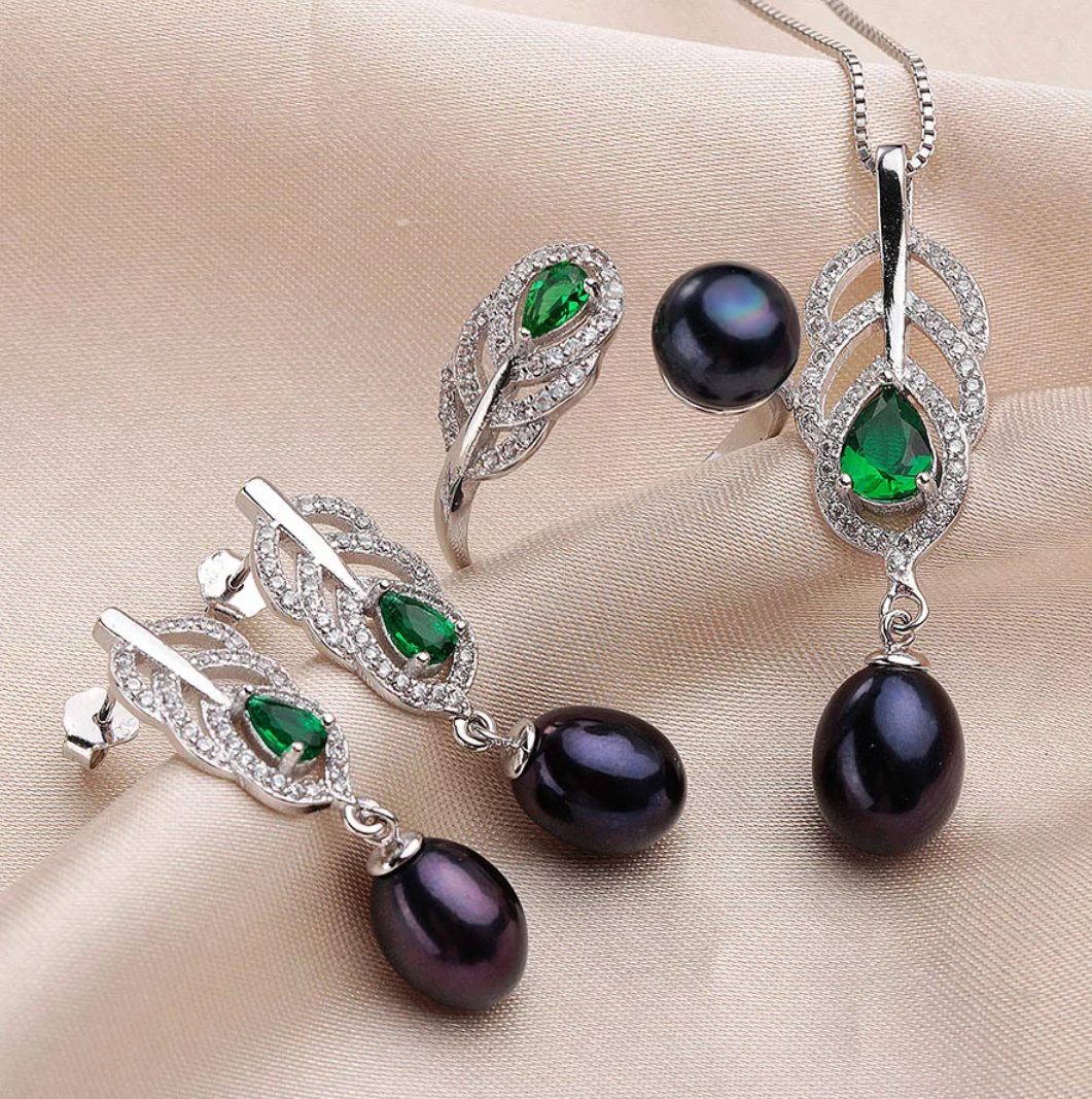 Natural Freshwater Pearls Sterling Silver Jewelry Set - Swank & Swagger