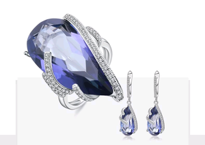 33.58 ct Natural Iolite Sterling Silver Jewelry Set - Swank & Swagger