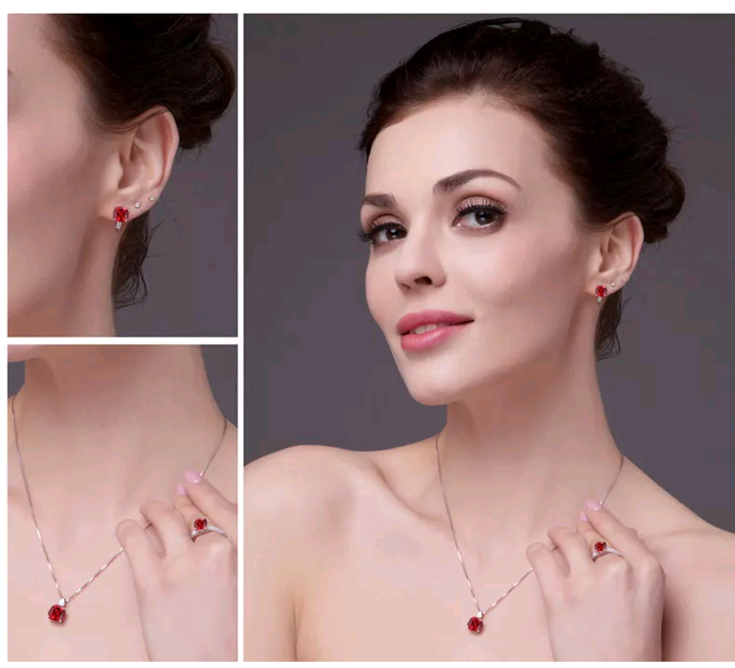 11.4 ct Lab Created Ruby Sterling Silver Jewelry Set - Swank & Swagger