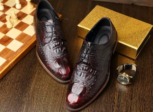 Crocodile Embossed Oxford Dress Shoes - Swank & Swagger