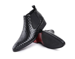 Luxury Woven Design Genuine Leather Boots - Swank & Swagger