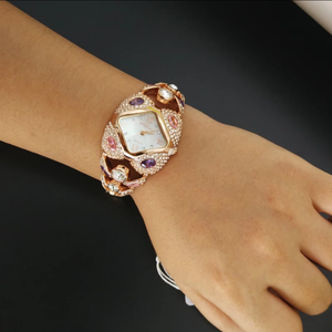 Luxury Chic Platinum/Gold CZ Watch - Swank & Swagger