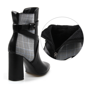 Women's Leather & Plaid Ankle Boots - Swank & Swagger