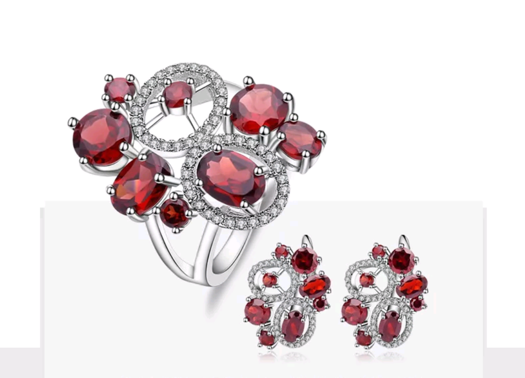 11.31 Ct. Natural Red Garnet Sterling Silver Jewelry Set - Swank & Swagger