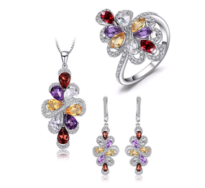 9.8 Ct Multi-Gemstone Sterling Silver Fine Jewelry Set - Swank & Swagger