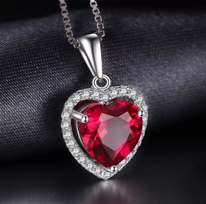 Ruby Heart Sterling Silver Jewelry Set - Swank & Swagger