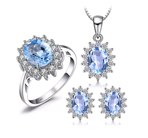 5.77ct Natural Blue Topaz Sterling Silver Jewelry Set - Swank & Swagger