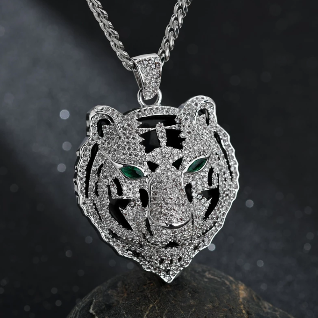 Iced Out Tiger Head Pendant Necklace - Swank & Swagger
