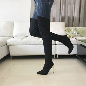 Metallic Heel Stiletto Thigh High Boots - Swank & Swagger