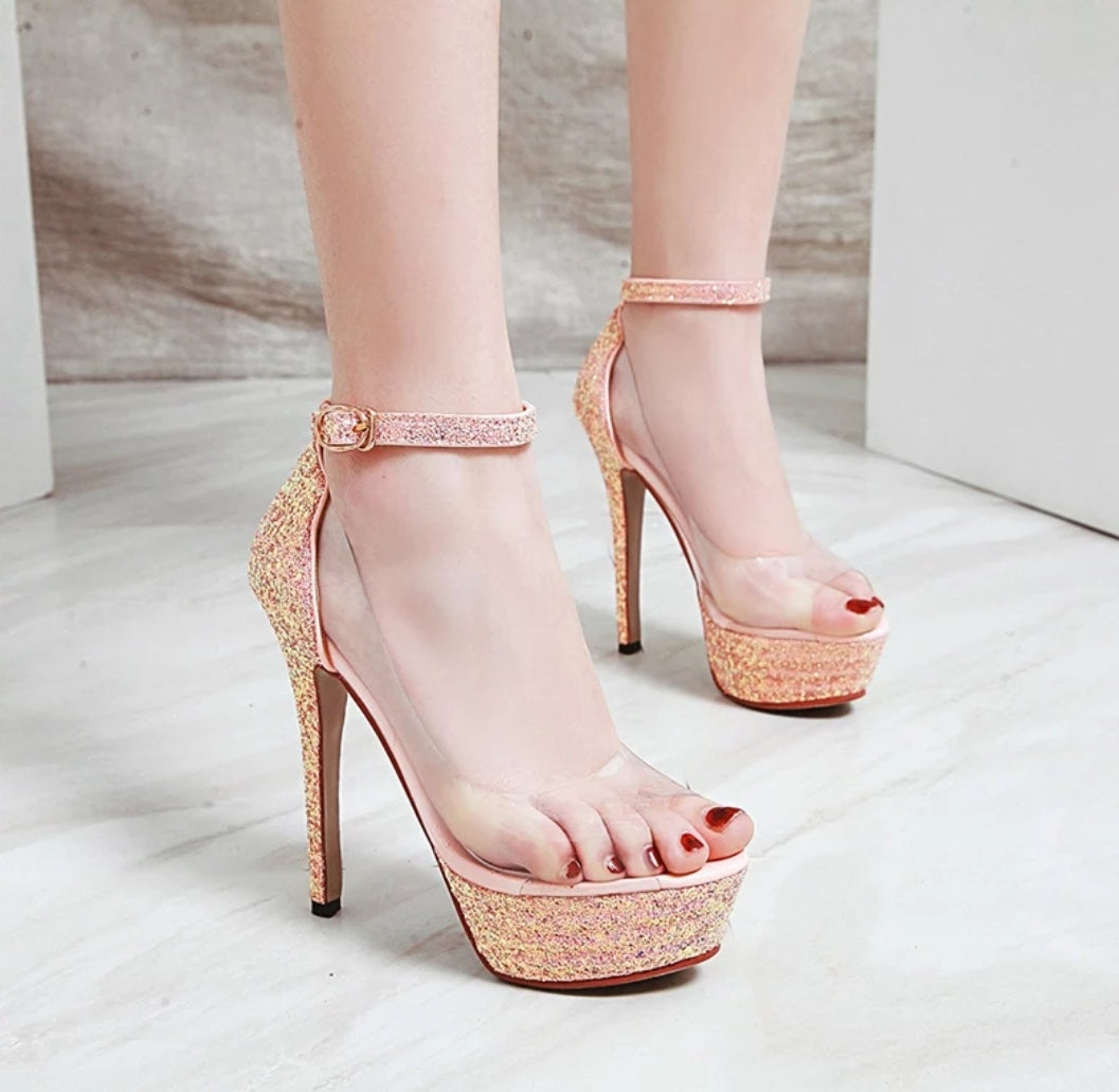 Transparent Peep Toe Stiletto Sandals - Swank & Swagger