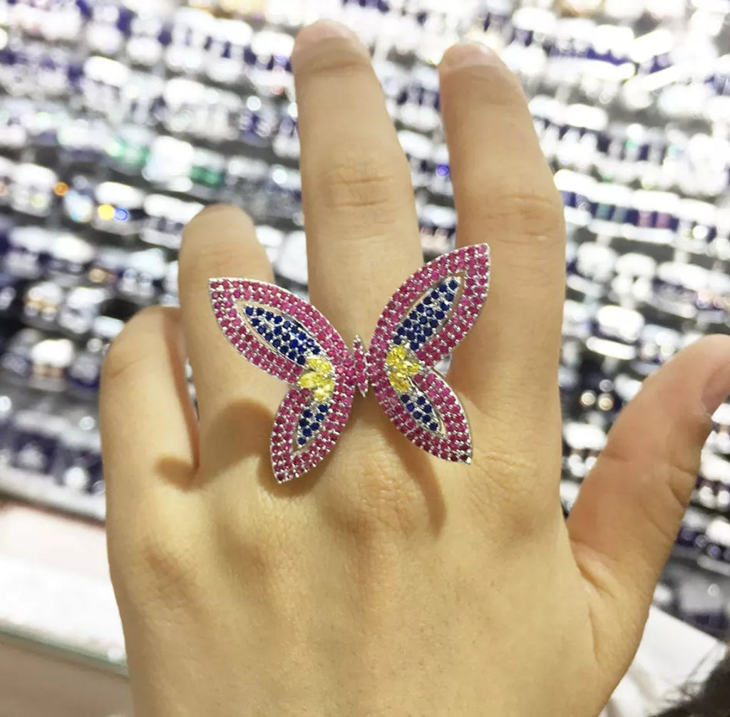 Platinum Butterfly Ring - Swank & Swagger