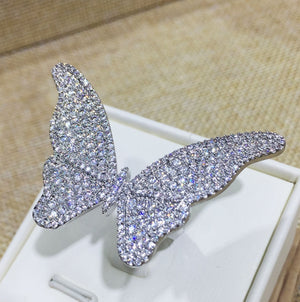 Enchanting Platinum Butterfly Ring - Swank & Swagger