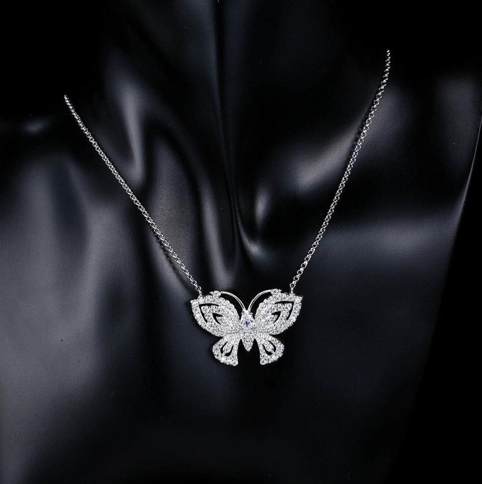 Platinum Butterfly Necklace - Swank & Swagger