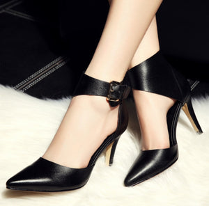 Leather Ankle Strap Pumps - Swank & Swagger