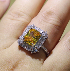 3ct Princess Cut Yellow & White CZ Diamond Ring - Swank & Swagger