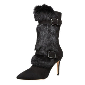 Women's Black Faux Fur Fashion Boots - Swank & Swagger