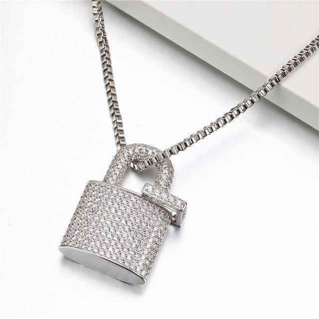 Iced Out Lock Pendant Necklace - Swank & Swagger