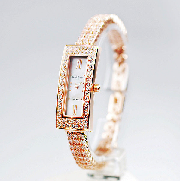 18k Gold CZ Diamond Rectangular Wristwatch - Swank & Swagger