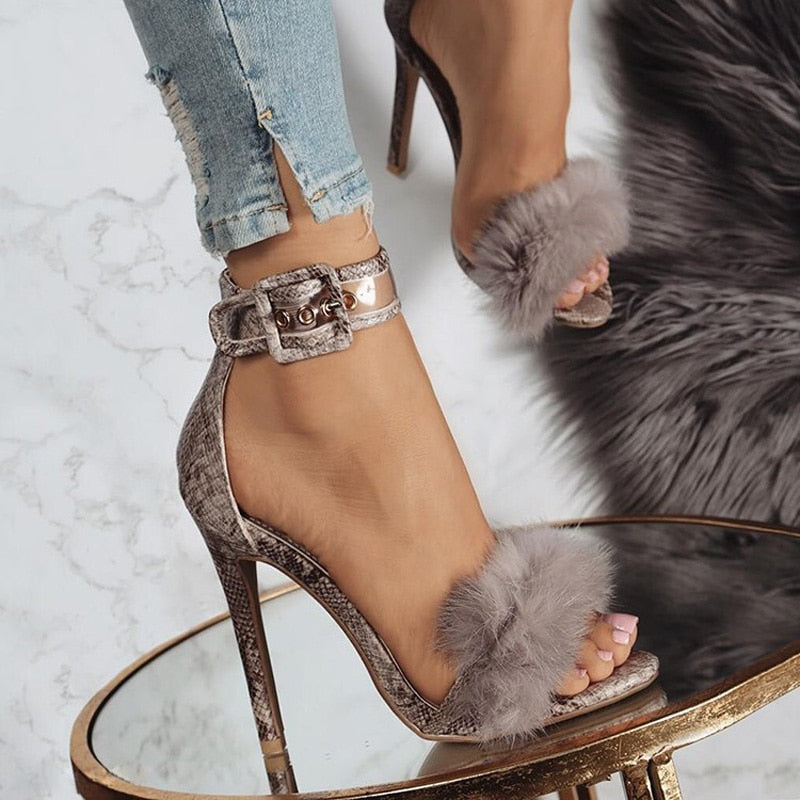 Women's Faux Fur Gladiator Sandals - Swank & Swagger