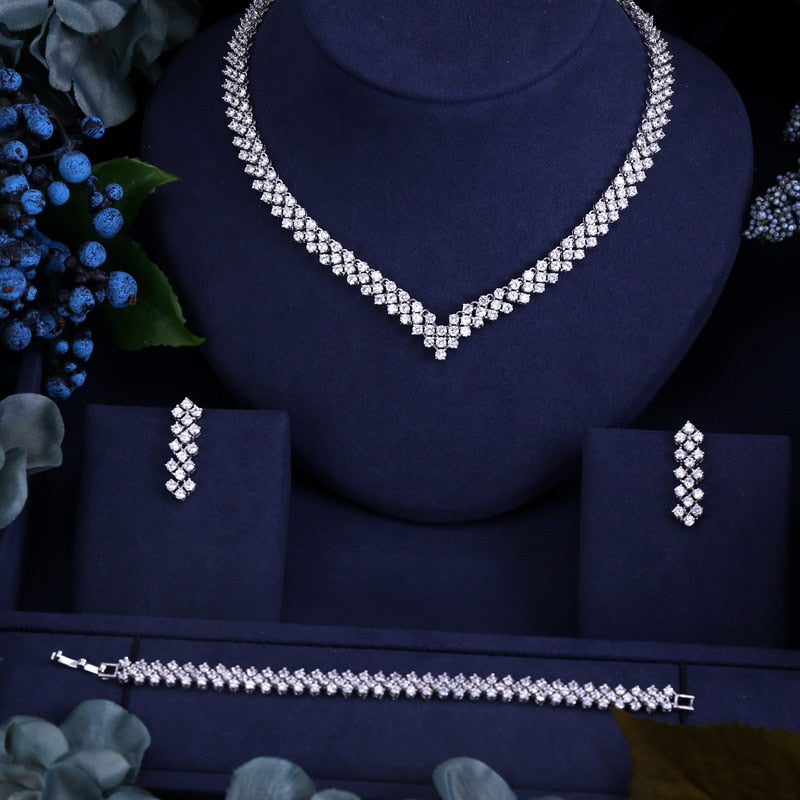 3 Piece CZ Bridal Jewelry Set - Swank & Swagger