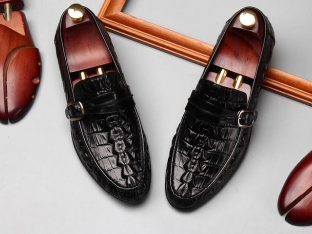 High-End Genuine Leather Crocodile Dress Loafers - Swank & Swagger