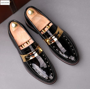 Men's Designer Patent Leather Loafers - Swank & Swagger