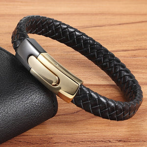 Snake Chain Stainless Steel Leather Bracelet - Swank & Swagger