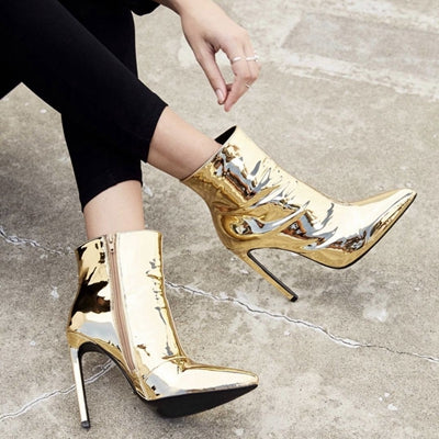 Women's Metallic Patent Leather Ankle Boots - Swank & Swagger