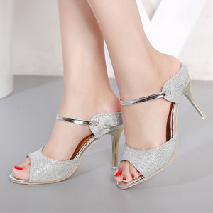 Metallic Peep Toe Stiletto Shoes - Swank & Swagger