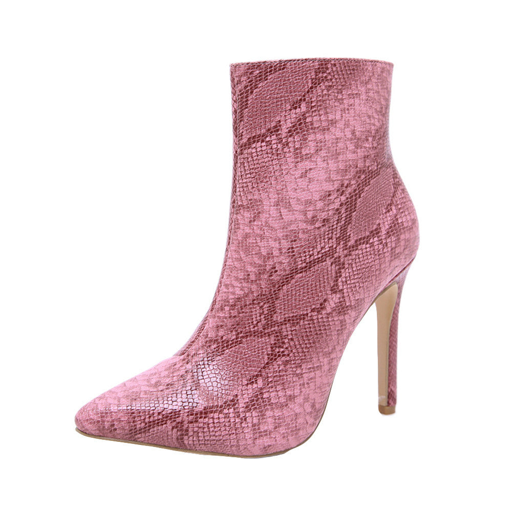 Fashion Women's Sexy Snake Skin High Heeled Boots - Swank & Swagger