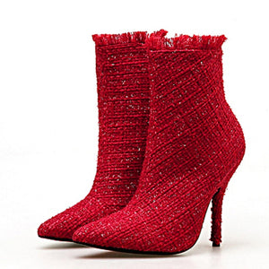 Women's Designer Tweed Ankle Boots - Swank & Swagger