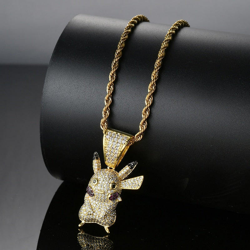 Iced Out Pikachu Pendant Necklace - Swank & Swagger