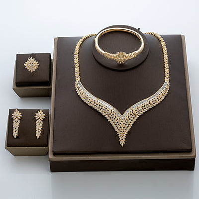 Sophisticated 4 Piece CZ 18k Gold Jewelry Set - Swank & Swagger