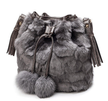 Faux Fur Bucket Shoulder Bag - Swank & Swagger