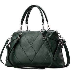 Vegan Leather Chevron Pattern Handbag - Swank & Swagger