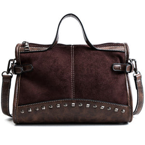 Vintage Style Riveted Shoulder Bag Handbag - Swank & Swagger