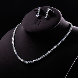 Classic CZ Platinum Necklace & Earrings Jewelry Set - Swank & Swagger
