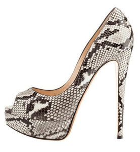 Python Peep Toe Pumps - Swank & Swagger