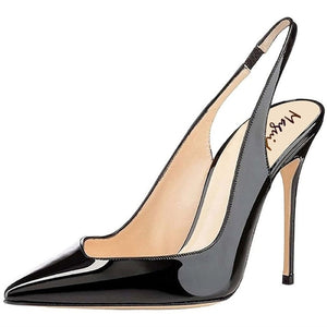 Gradient Patent Leather Slingback Stiletto Pumps - Swank & Swagger