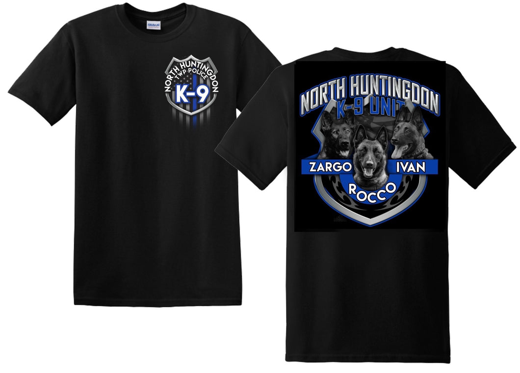 Image showing front and back of 2020 NHT Police K-9 Shirt featuring Zargo, Rocco, and Ivan.
