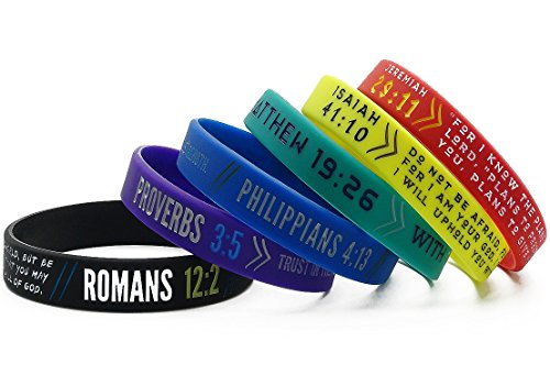 ... (12-pack) Colorful Bible Wristbands - Mixed Adult Sizes for Bulk Christian Gifts ...