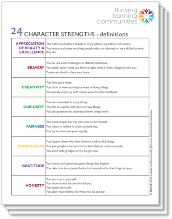 Character Strengths Definitions (classroom set of 30)