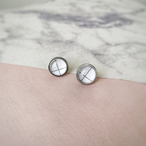Line Glass Cabochon Earring